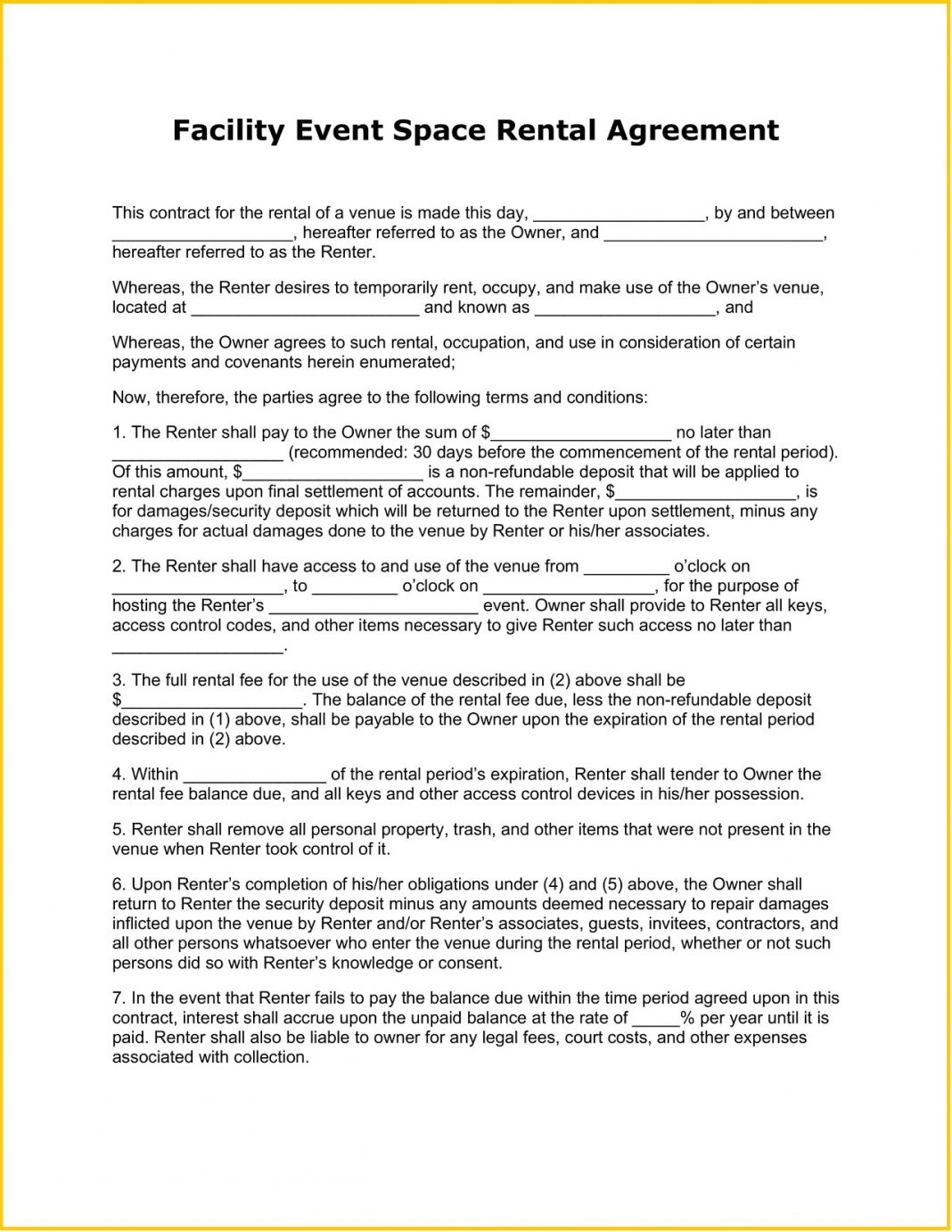 Facility Event Space Rental Agreement Form Word Template Equipment Contract Lease Sample Venue Booking Work For Rent Party  Large