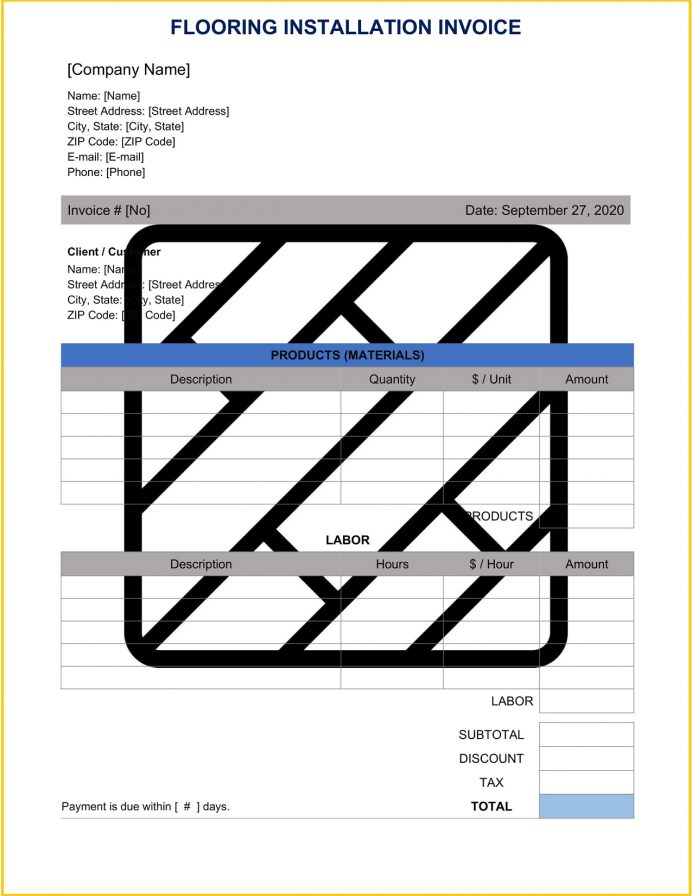 Flooring Installation Invoice Form Word Template Invoice Flooring Installation Invoice Template Sample