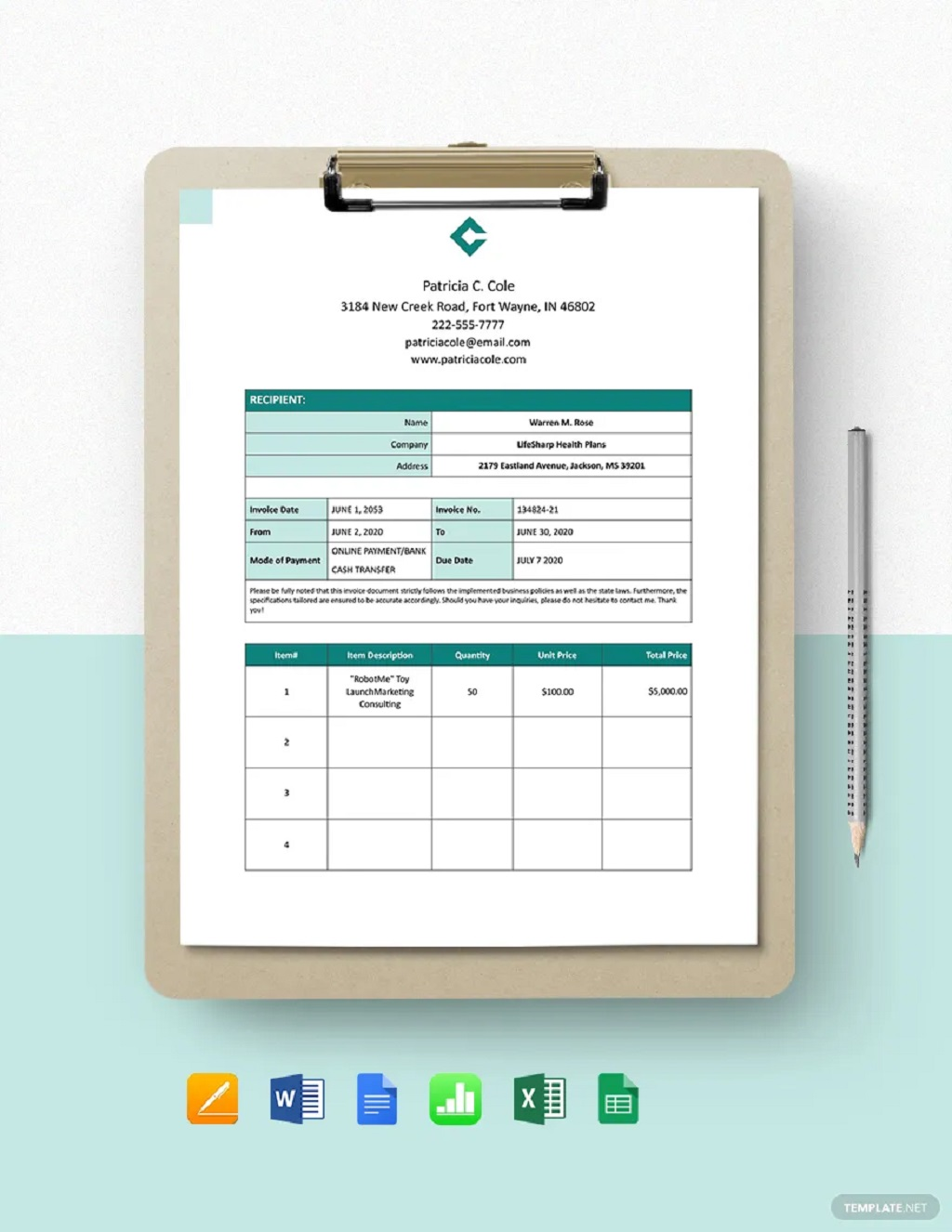Freelance Consultant Invoice Form