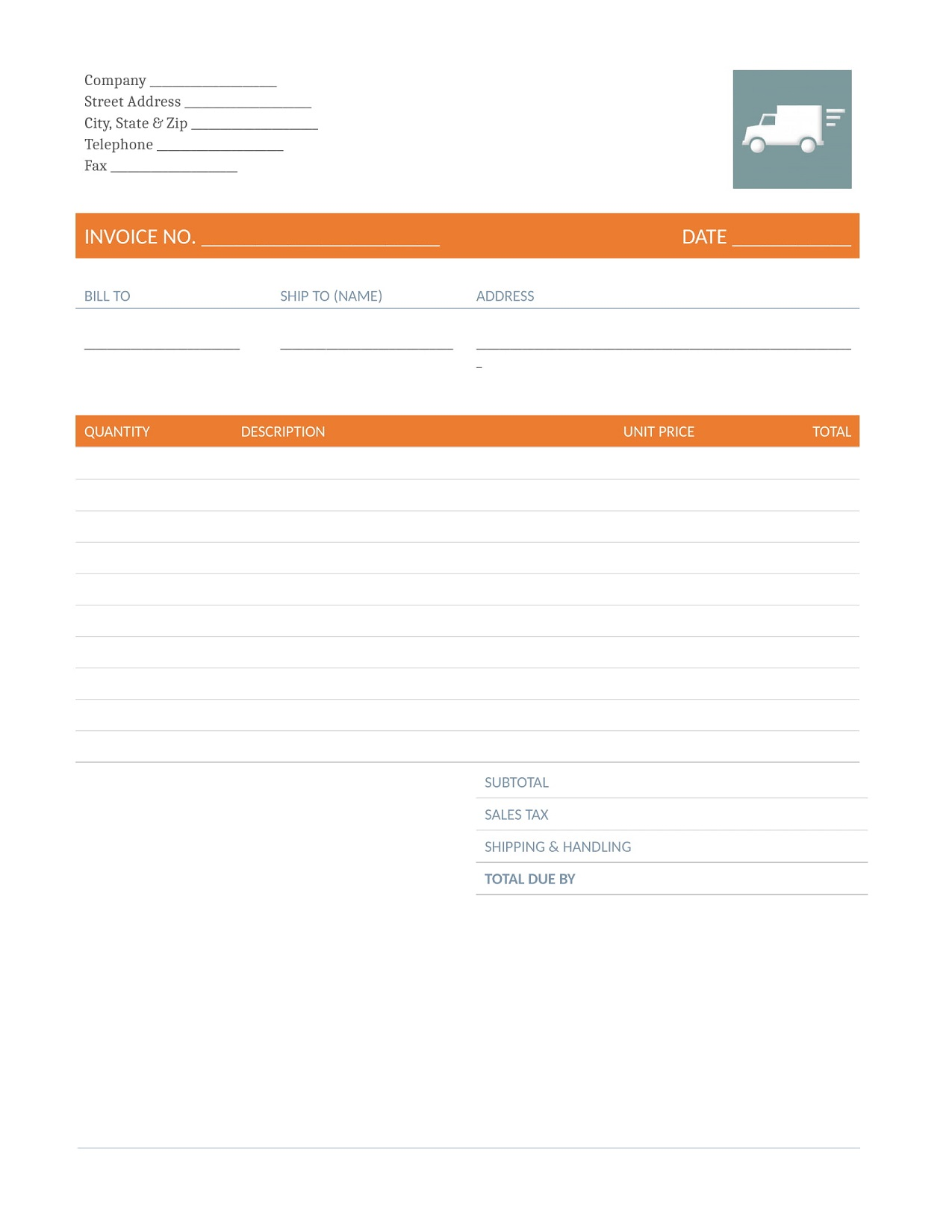 Freight Invoice Excel Template Free