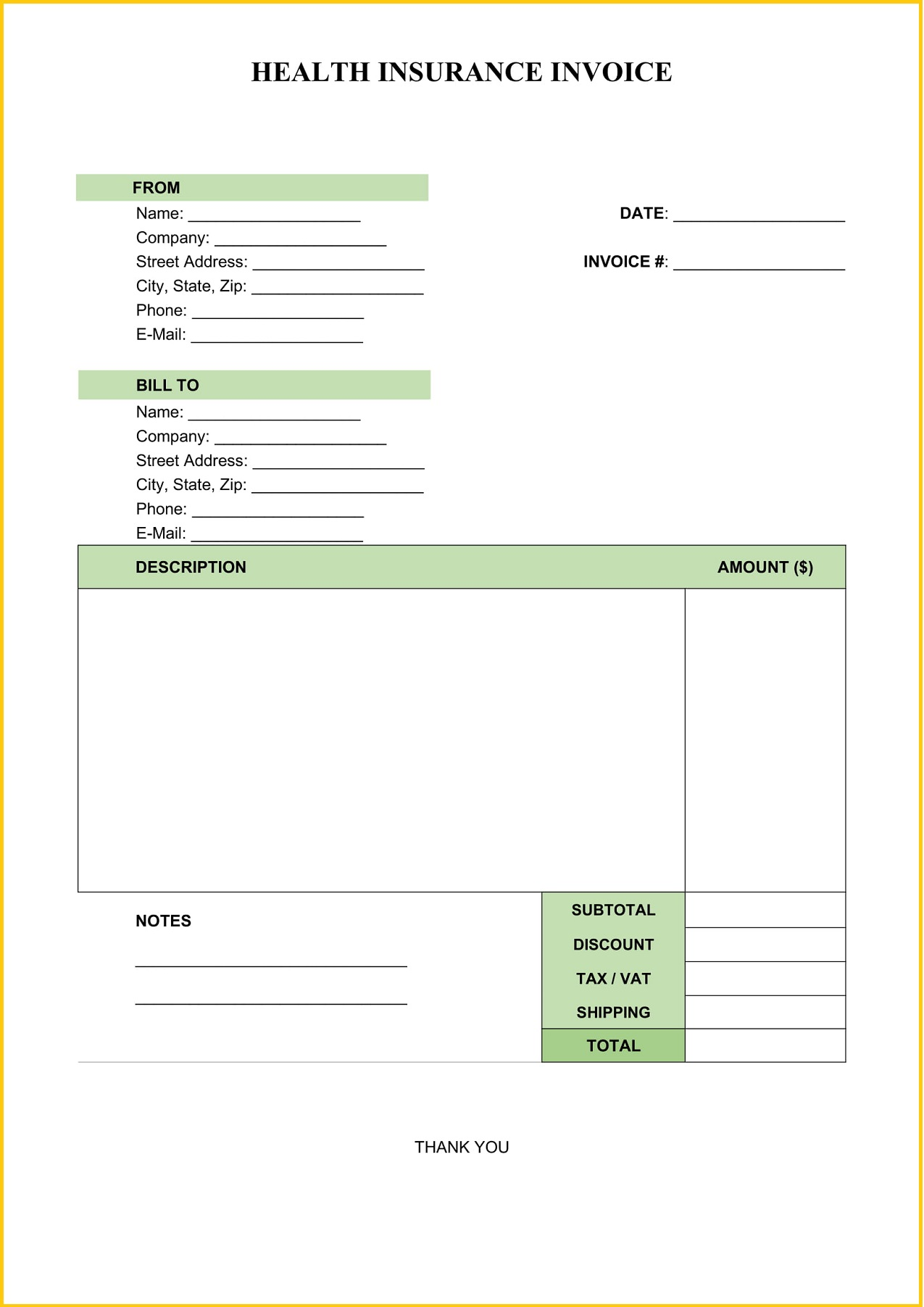 Health Insurance Invoice Template Word Form