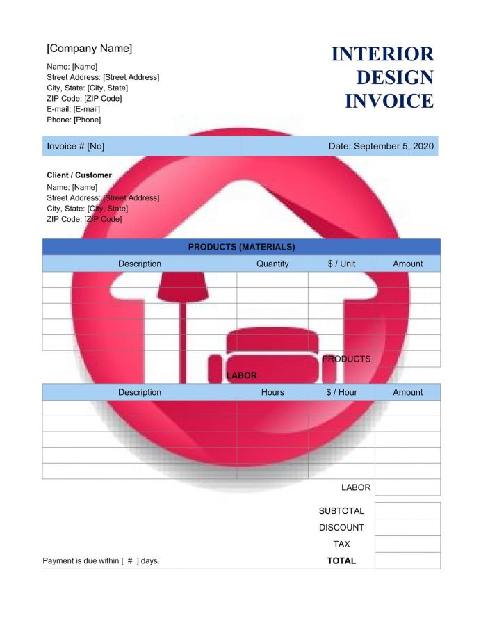 Interior Design Invoice Template Billing Word Quotation Format In Excel Designer Bill Proforma Templates Free  Example