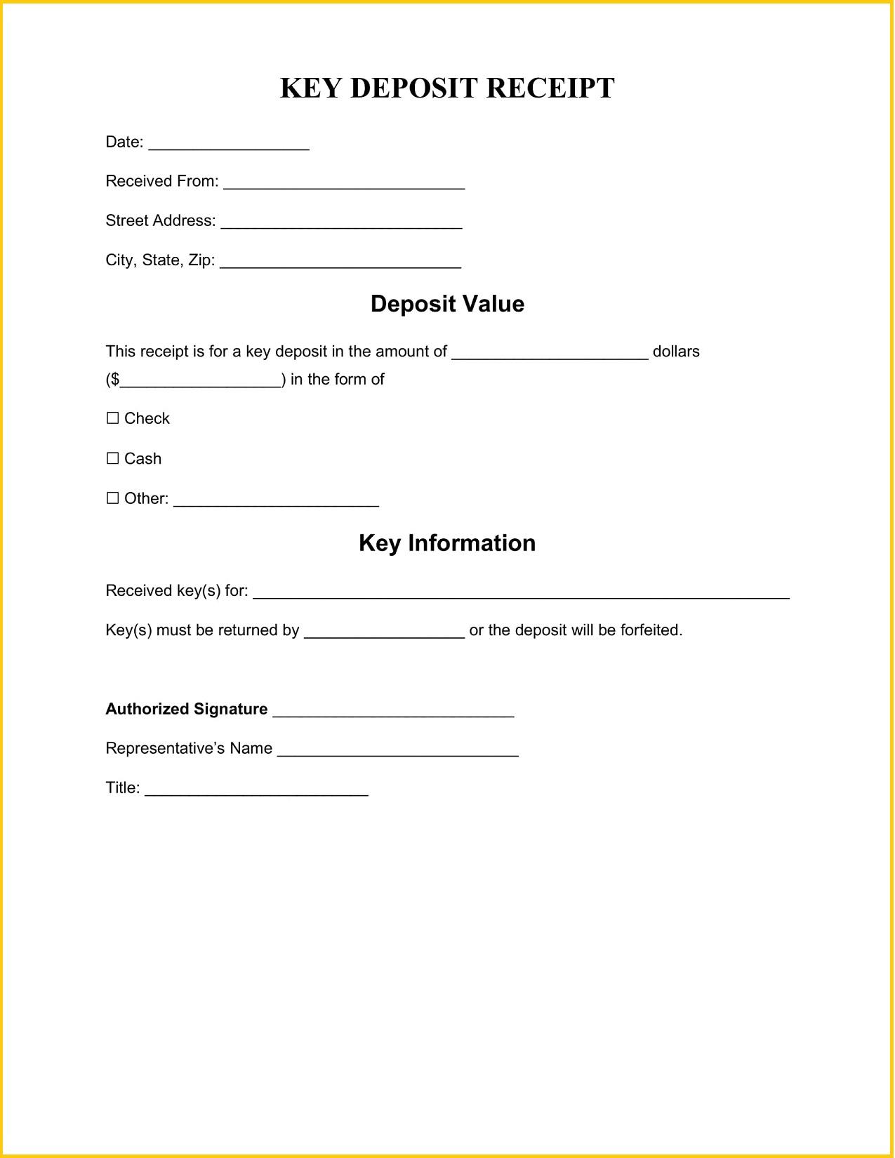 Key Deposit Receipt Template Word Free