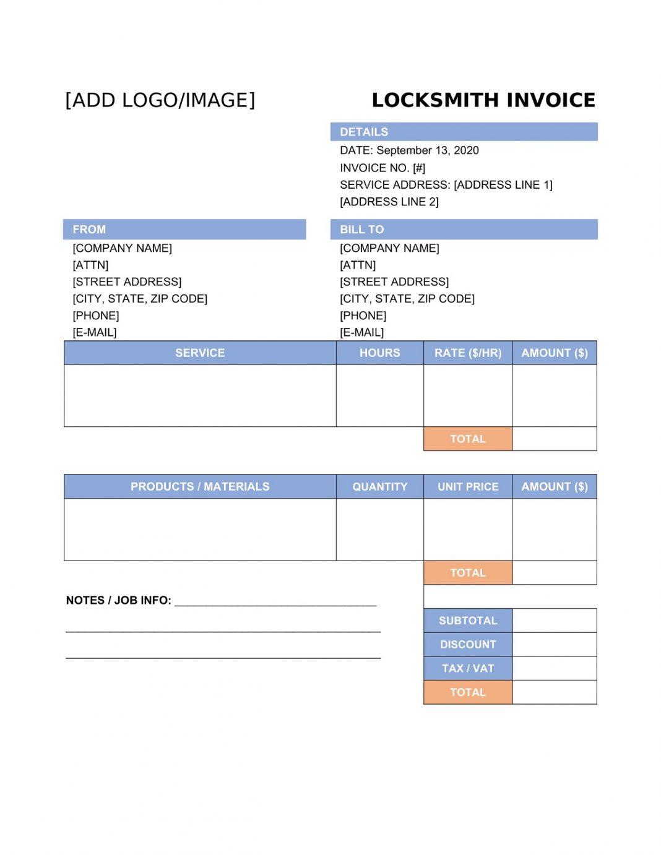 Locksmith Invoice Template PDF Free Near Me Receipt Pdf Forms  Sample Large