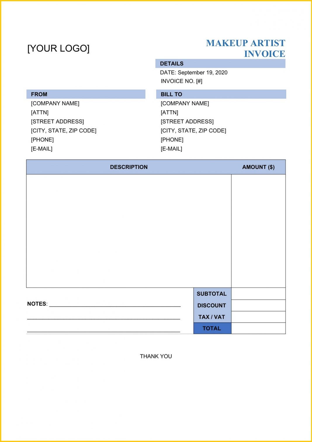 Makeup Artist Invoice Word Template Beauty Quote Receipt Wedding Hair And Sample Bill Book  Large