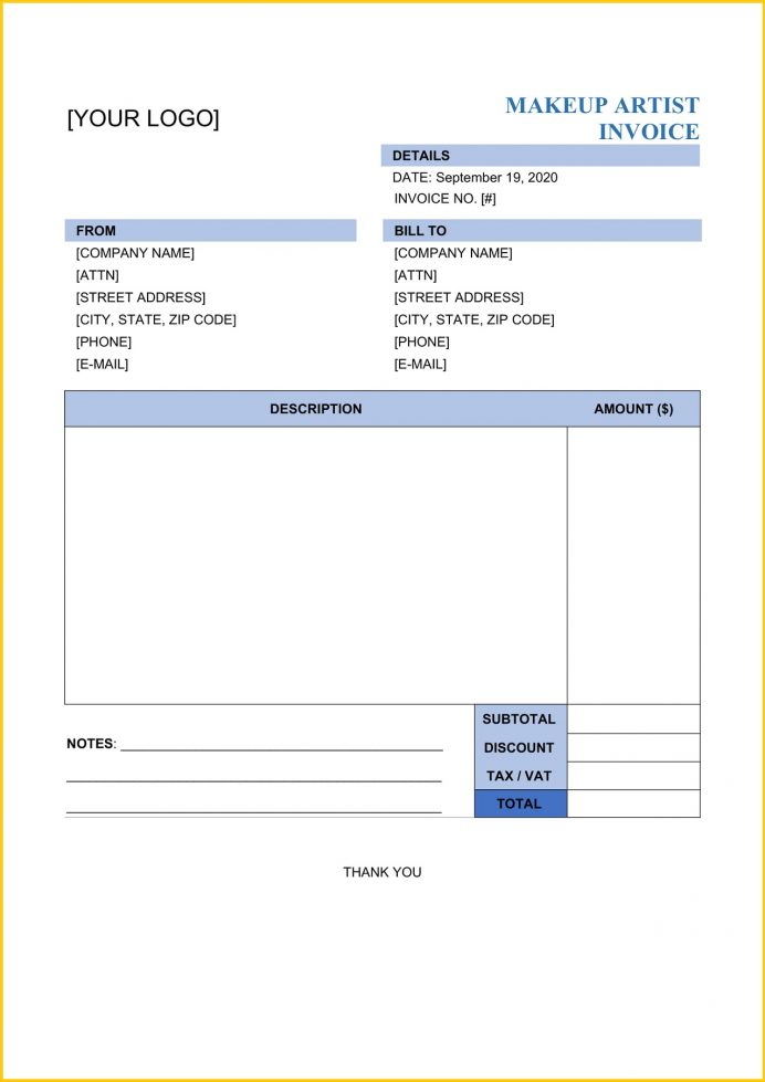 Makeup Artist Invoice Word Template Invoice Makeup Artist Invoice Template Sample