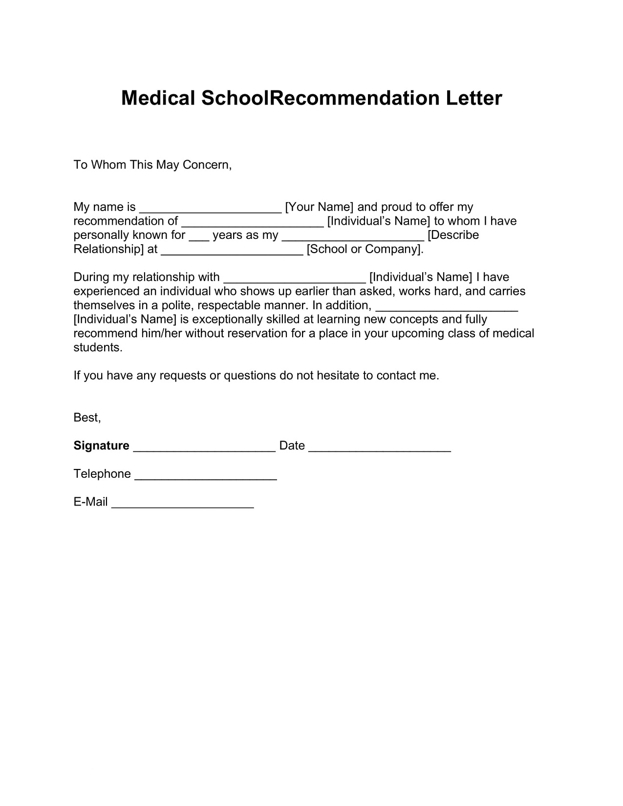 Medical School Recommendation Letter Word Form