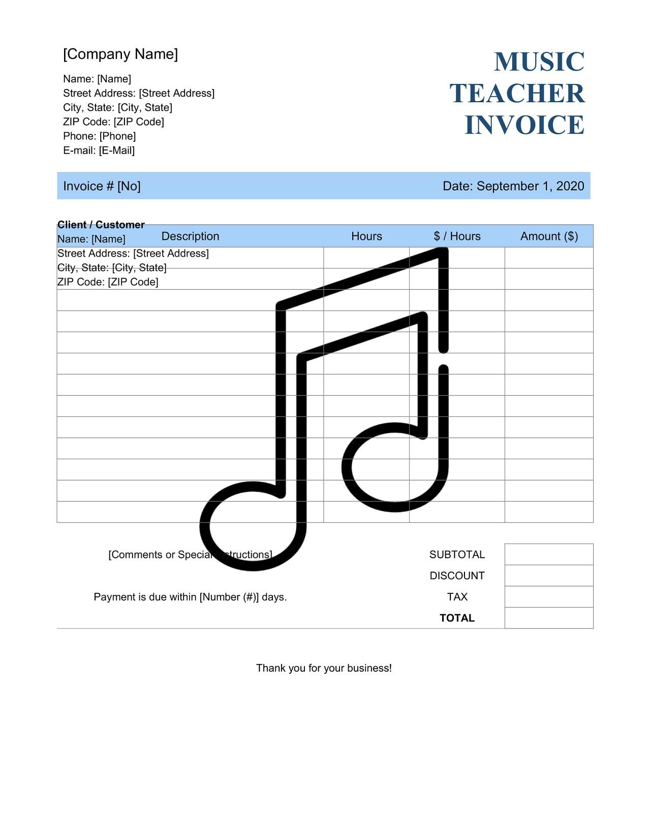 Music Lesson Teacher Invoice Template Bill PDF Format