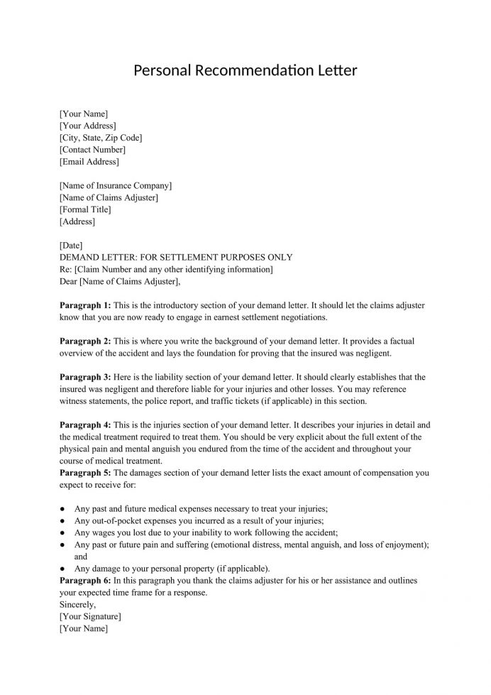 Personal Recommendation Letter Template Word Form For Scholarship Reference A Friend Short Pdf  Sample