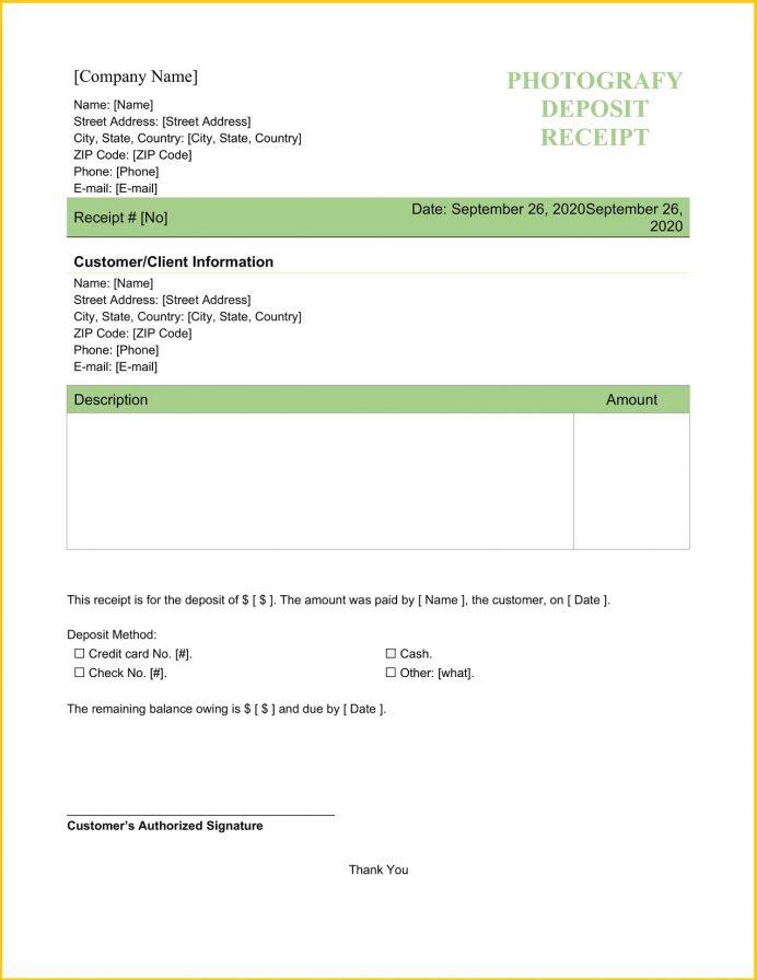 Photography Deposit Receipt Template Word Receipt Photography Deposit Receipt Template Example