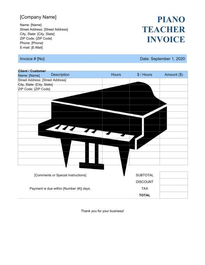Piano Lesson Teacher Invoice Template Bill Excel Format Invoice Piano Teacher (Lesson) Invoice Template Sample