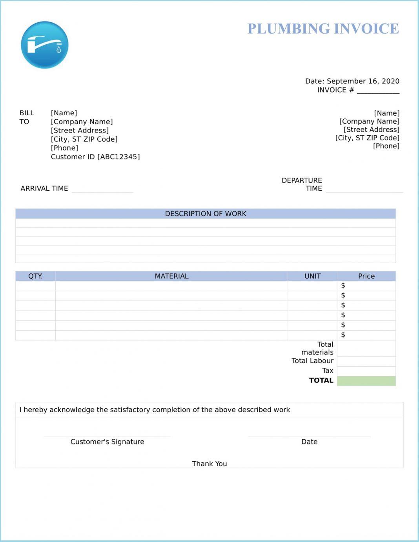 Plumbing Invoice Template Word Free Fake Pdf Sample Wording  Large