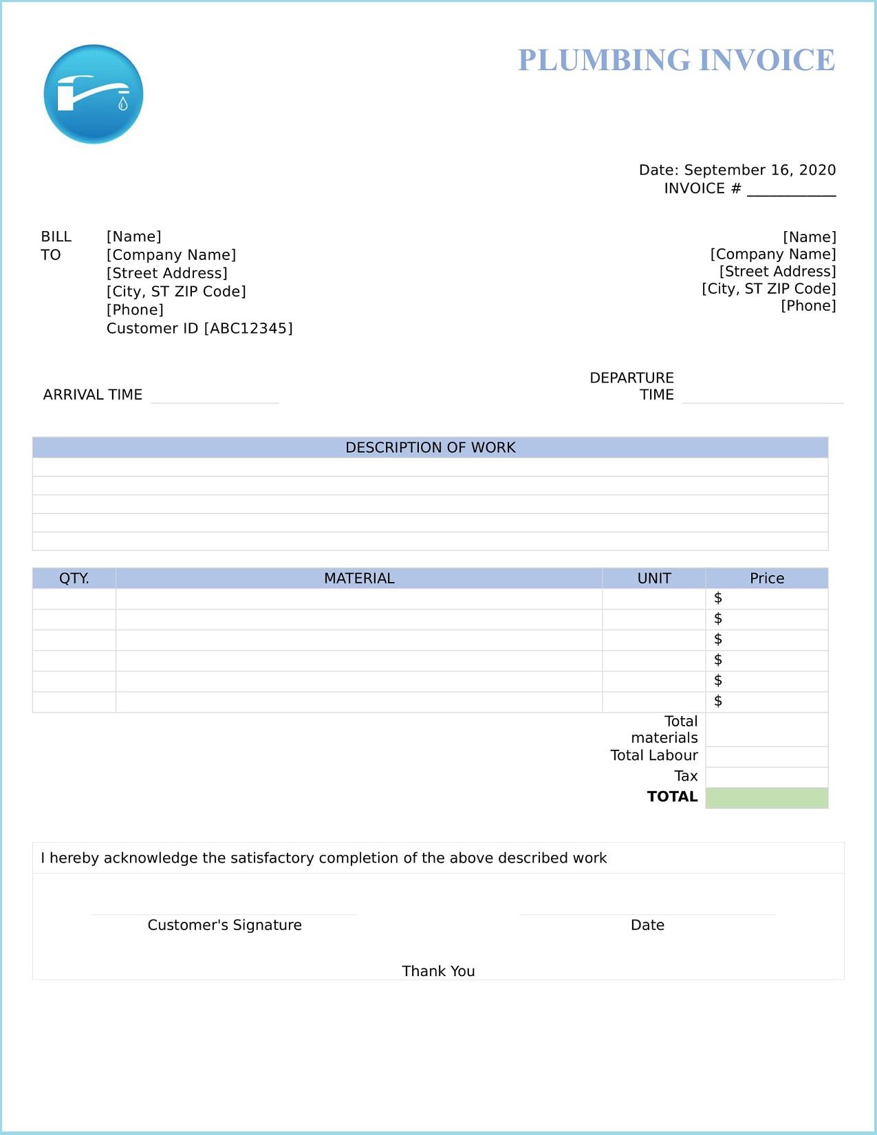 Plumbing Invoice Template Word Free Fake Pdf Sample Wording  Full