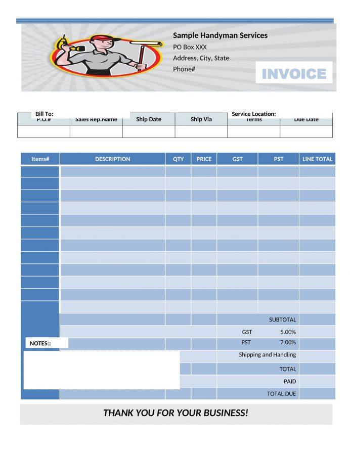 Printable Handyman Invoice Template Word Free Software Home Repair App Example  Sample
