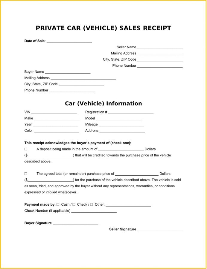Private Sales Vehicle Receipt Word Template Free Receipt Sample Private Sales Vehicle Receipt Template