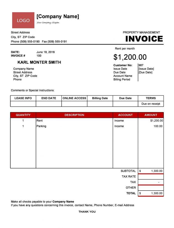 Property Management Invoice Template Excel Format Online Software Desktop Rental Report Free  Sample