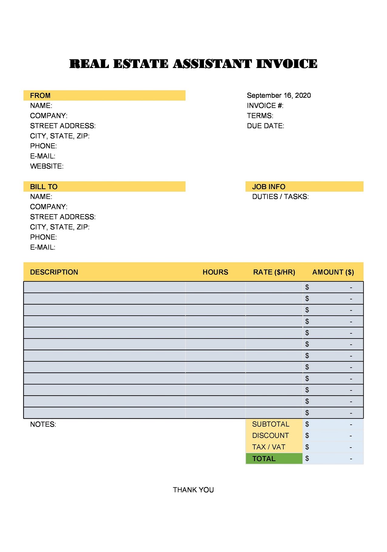 Real Estate Assistant Invoice Excel Template