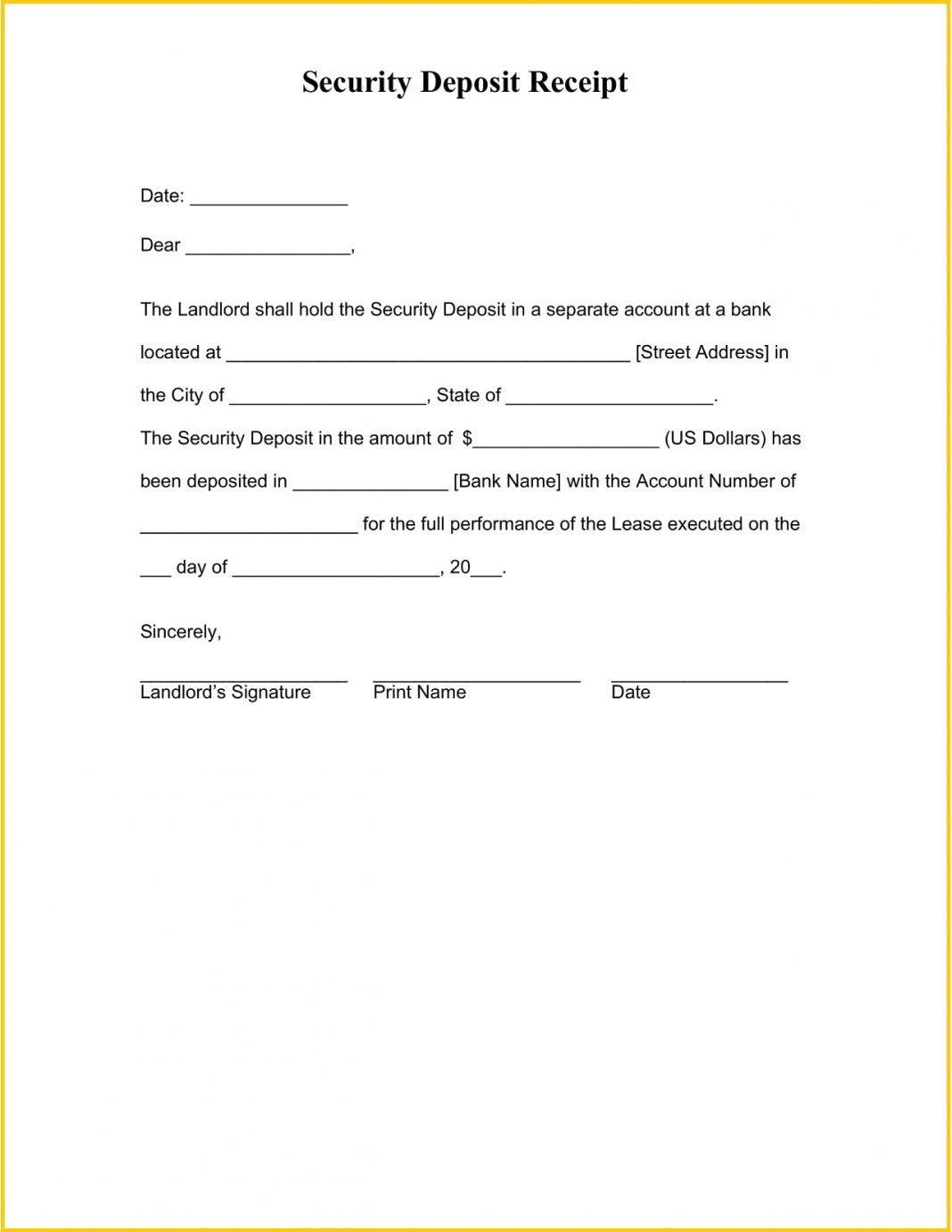 Security Deposit Receipt Form Word Template Chicago Massachusetts Agreement California  Sample Large