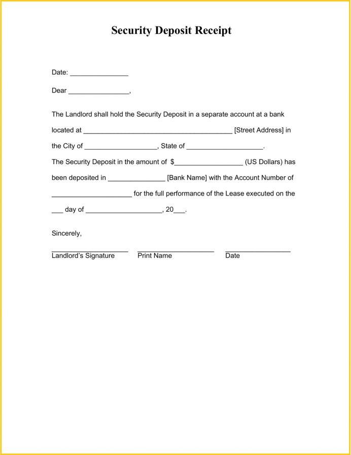 Security Deposit Receipt Form Word Template Chicago Massachusetts Agreement California  Sample