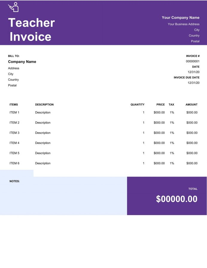 Teaching Invoice Template Word Doc Format Invoice Teaching (Education) Invoice Template Sample