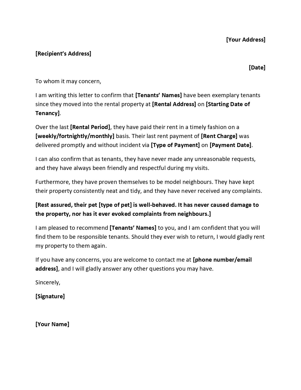 Letter Of Recommendation Tenant from www.geneevarojr.com