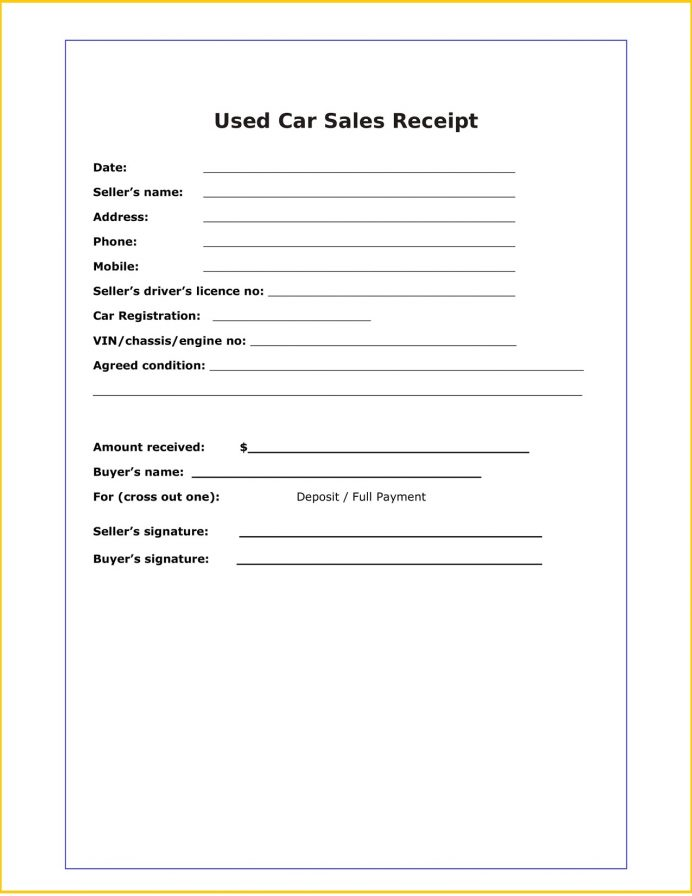 Used Car Sale Receipt Word Template Free Receipt Used Car Sales Receipt Template Example
