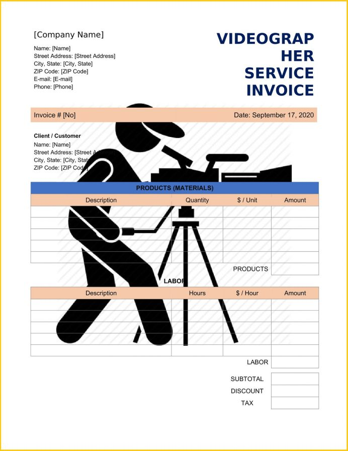Videographer Service Invoice Template Word Invoice Videographer Service Invoice Template Example