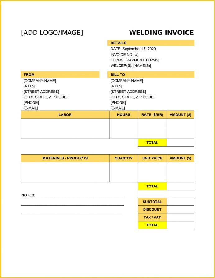 Welding Service Invoice Word Template Work Order Quotation Format Sample Letter For Fabrication Shop Bill  Example