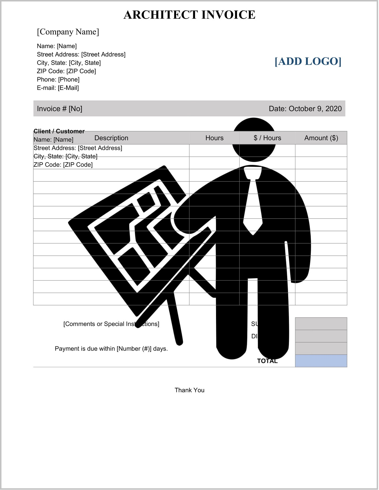 Architect Invoice Template Word