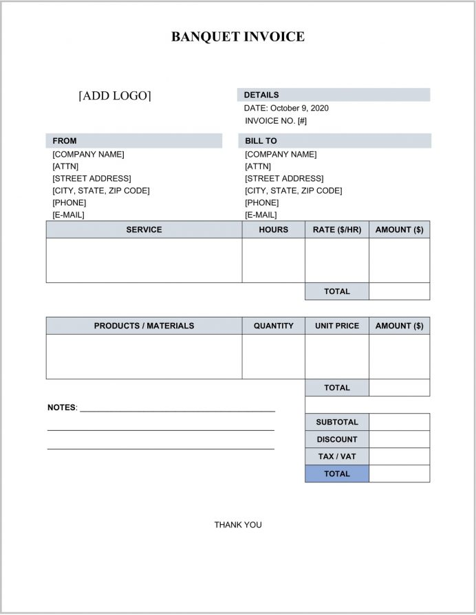 Banquet Invoice Template Word Example Indian Catering Bill Format, Simple Template, Food Excel,