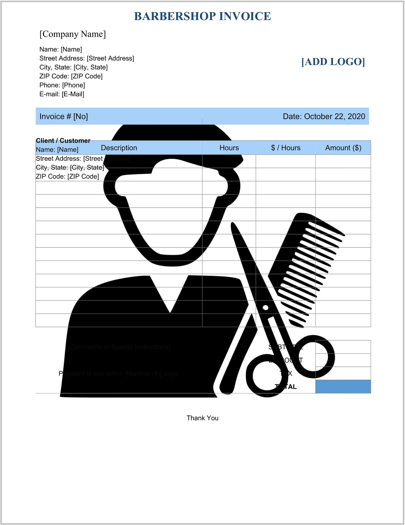 Barber Invoice Template Word Format