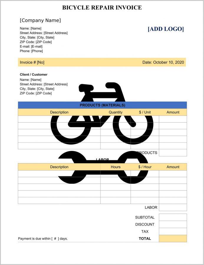 Bicycle Repair Invoice Template Word Invoice Bicycle Repair Invoice Template Sample
