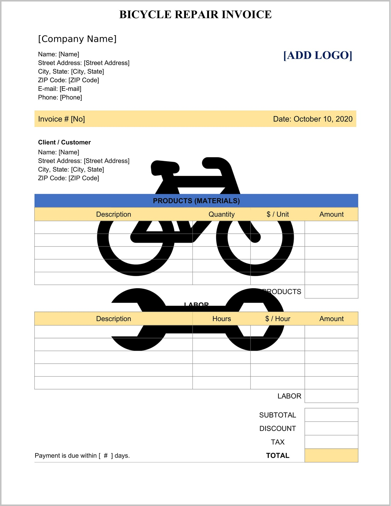 Bicycle Repair Invoice Template Word