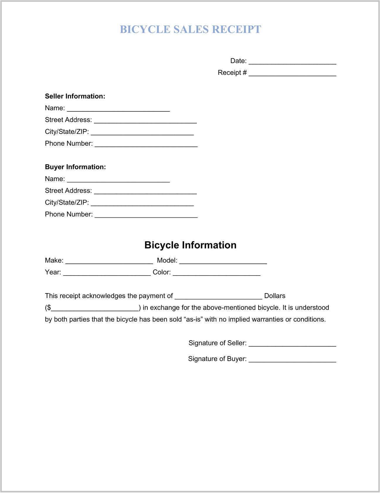 Bicycle Sales Receipt Template Word Form