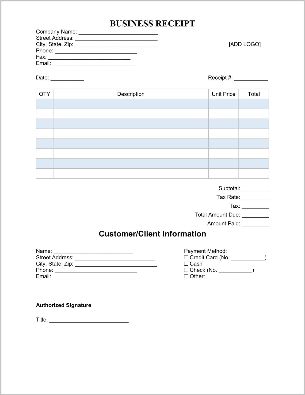 Business Receipt Template Sample