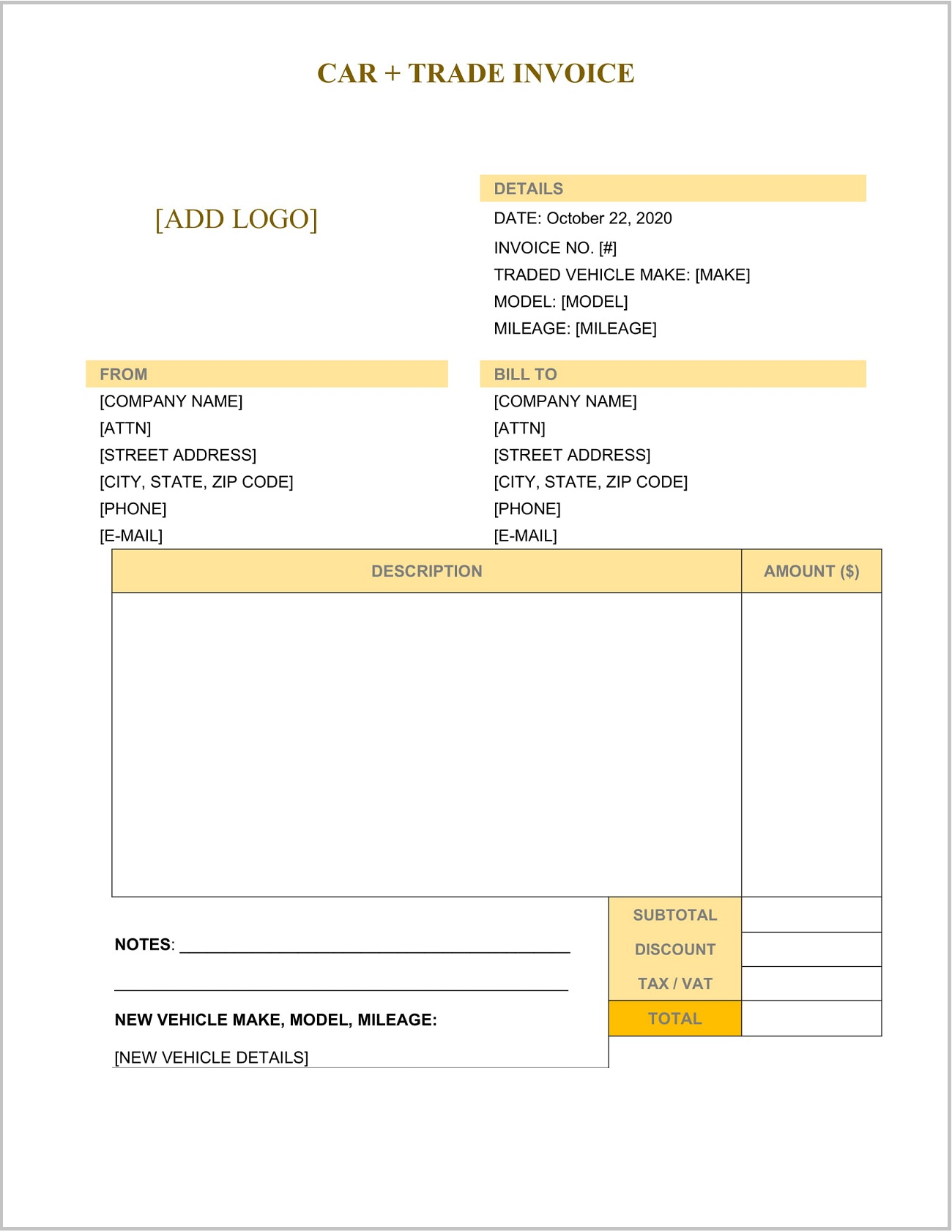 Car Trade Invoice Template Word