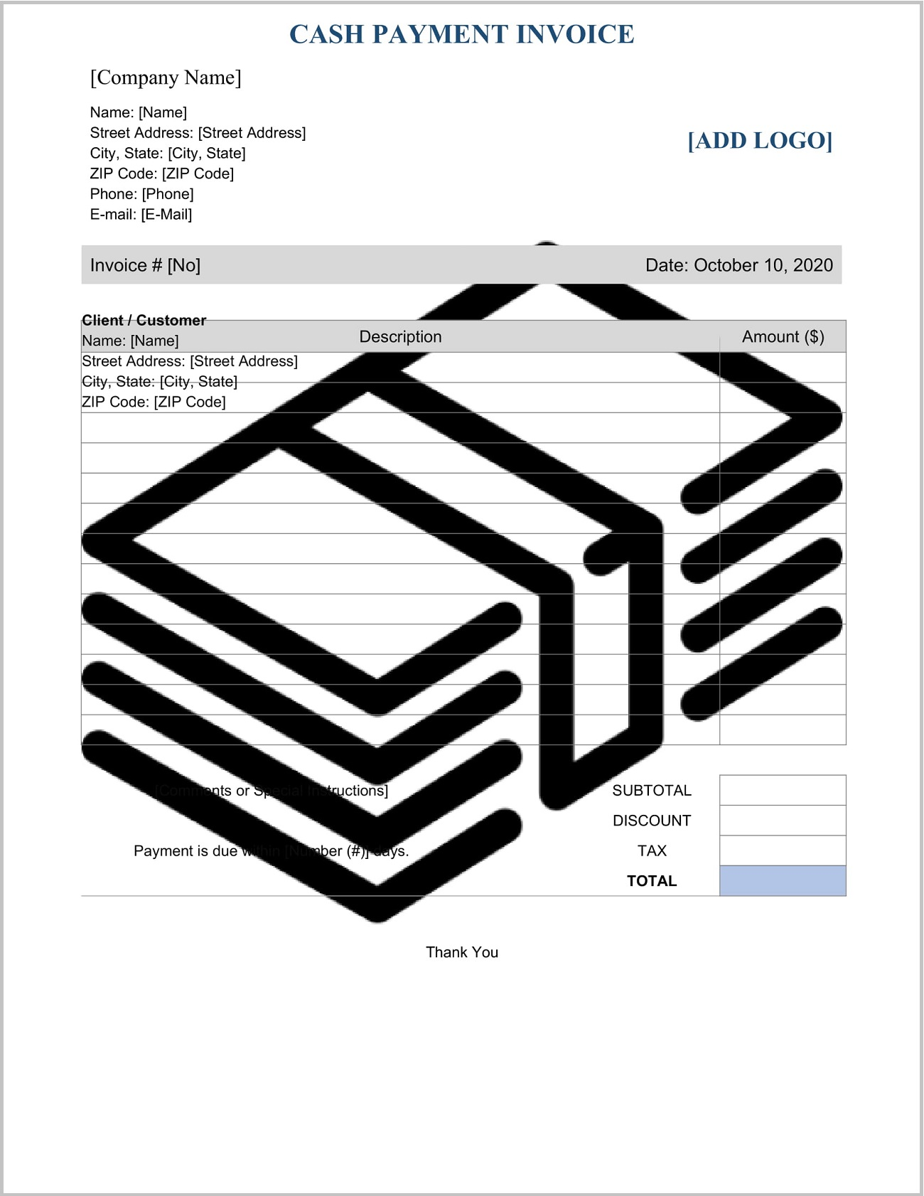 Cash Payment Invoice Template Word