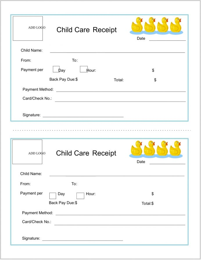 Child Care Service Receipt Template Word Receipt Sample Child Care Services Receipt Template