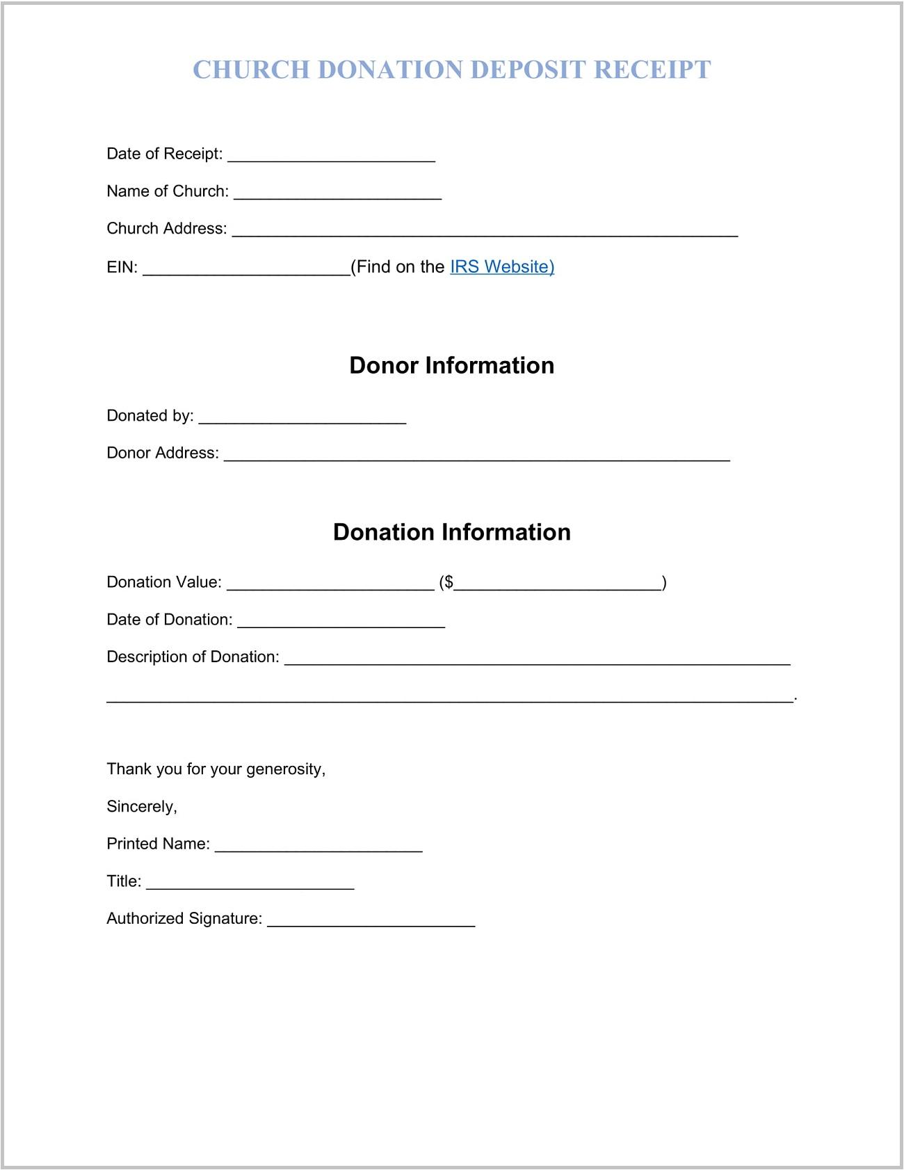 Church Donation Receipt Template Sample