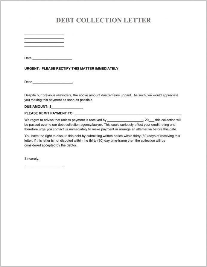 Debt Collection Letter Template Word Letter Sample Debt Collections Letter Template