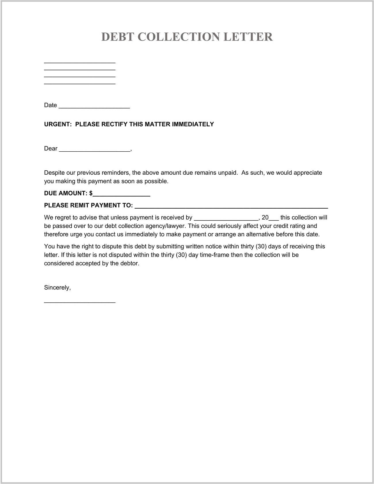 Debt Collection Letter Template Word