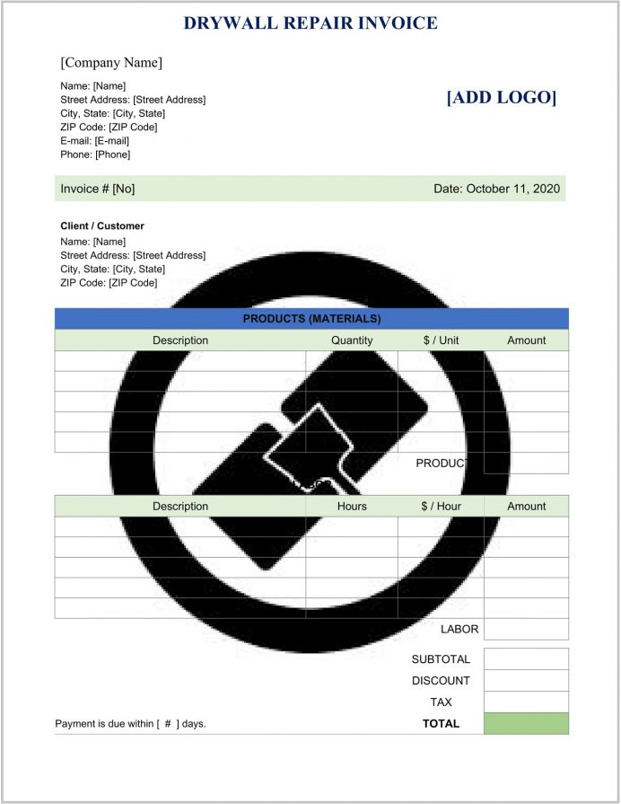 Drywall Repair Invoice Template Word Doc Form Invoice Drywall Repair Invoice Template Sample