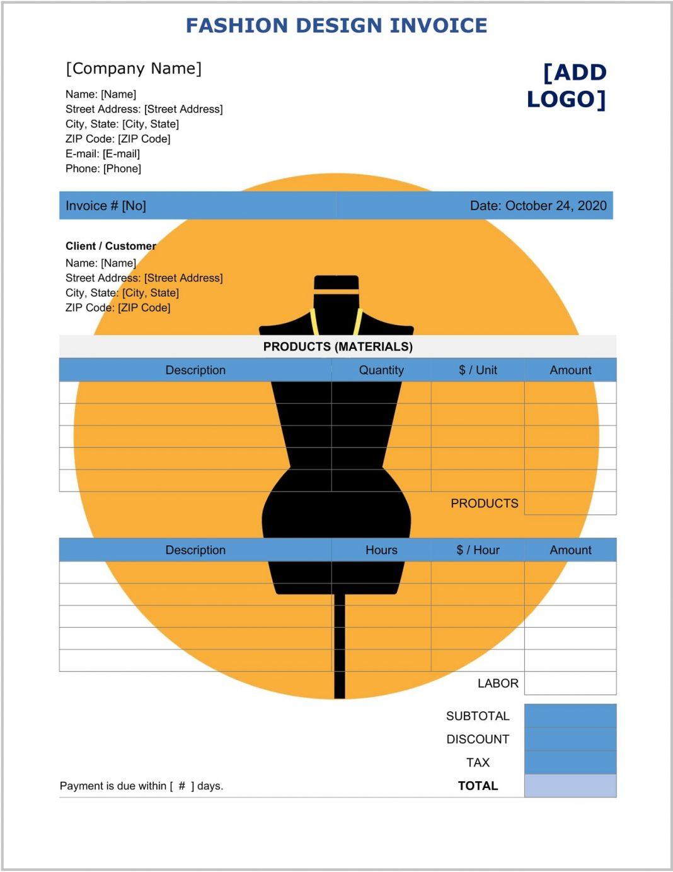 Fashion Design Invoice Template Word Form Csv Free Generator Creative  Sample Large