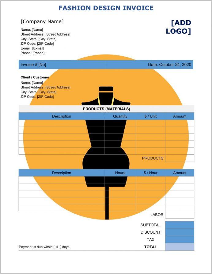 Fashion Design Invoice Template Word Form Invoice Fashion Design Invoice Template Sample
