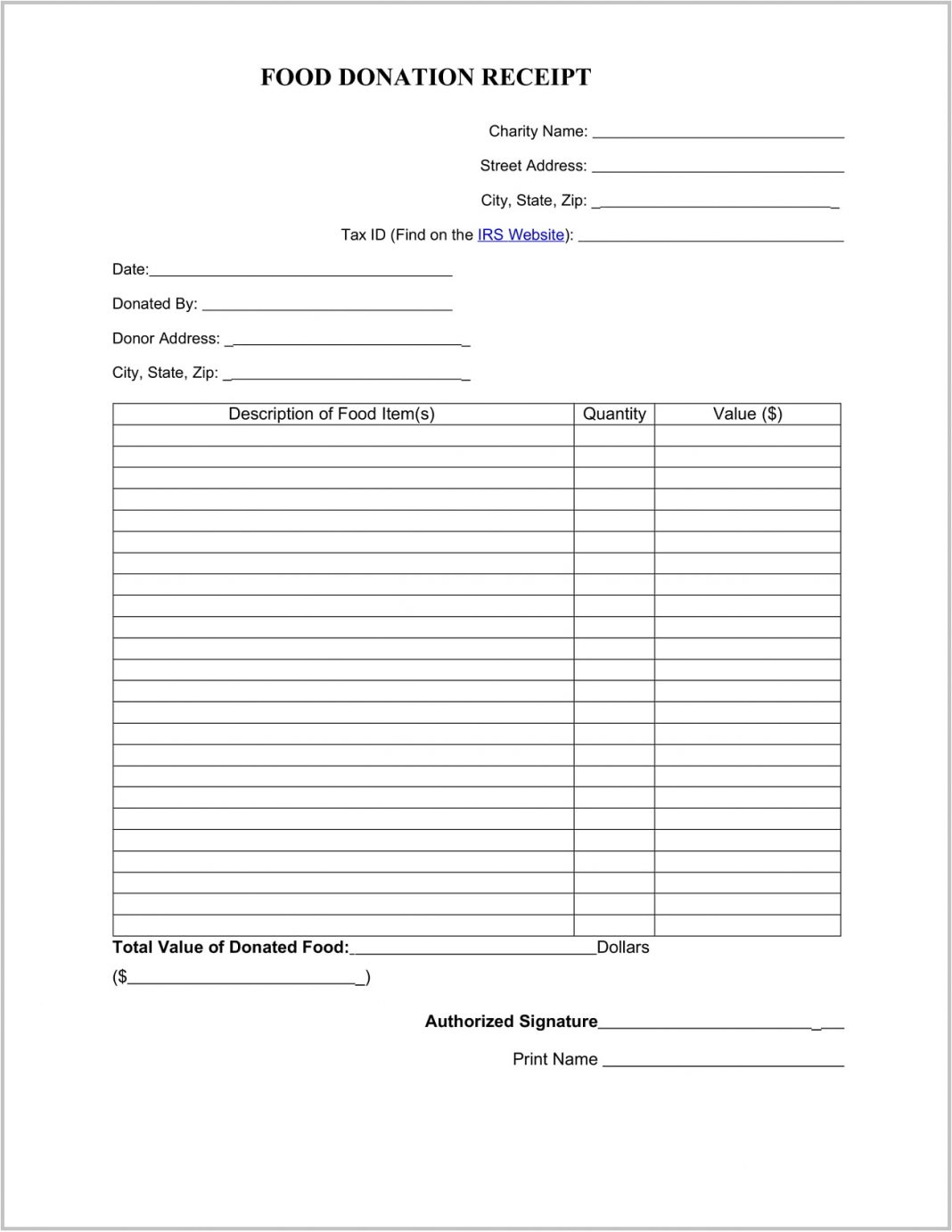 Food Donation Receipt Template Word Format Charitable Tax Book Pdf  Example Large