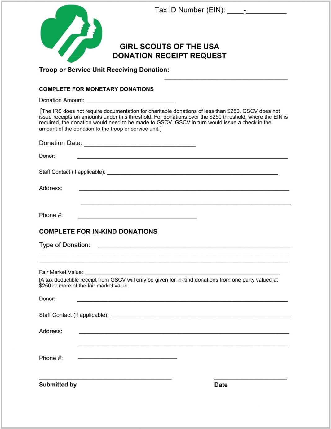 Girl Scouts Donation Receipt Form Template Word Maker Pdf In-kind Charitable  Sample Large
