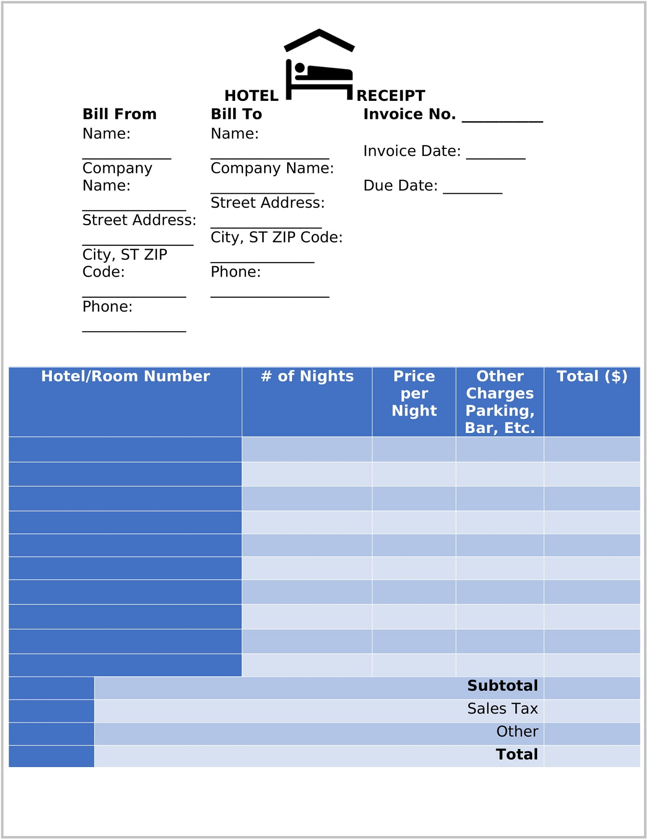 Hotel Receipt Template Word Form