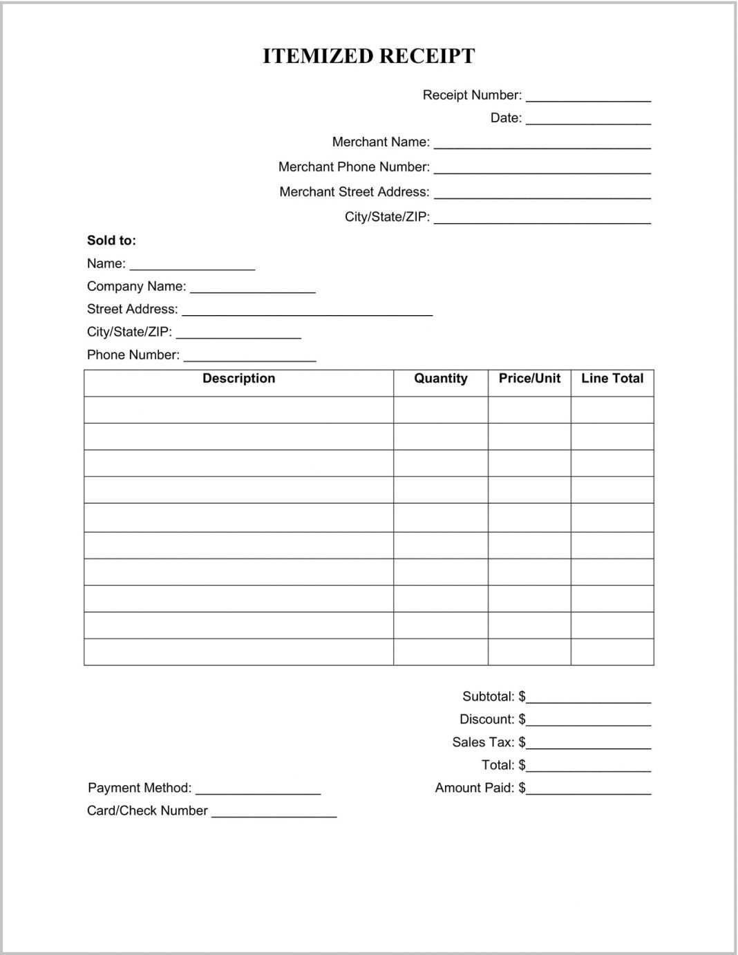 Itemized Sales Receipt Template Word Form Maker Blank Cash List Excel  Example Large