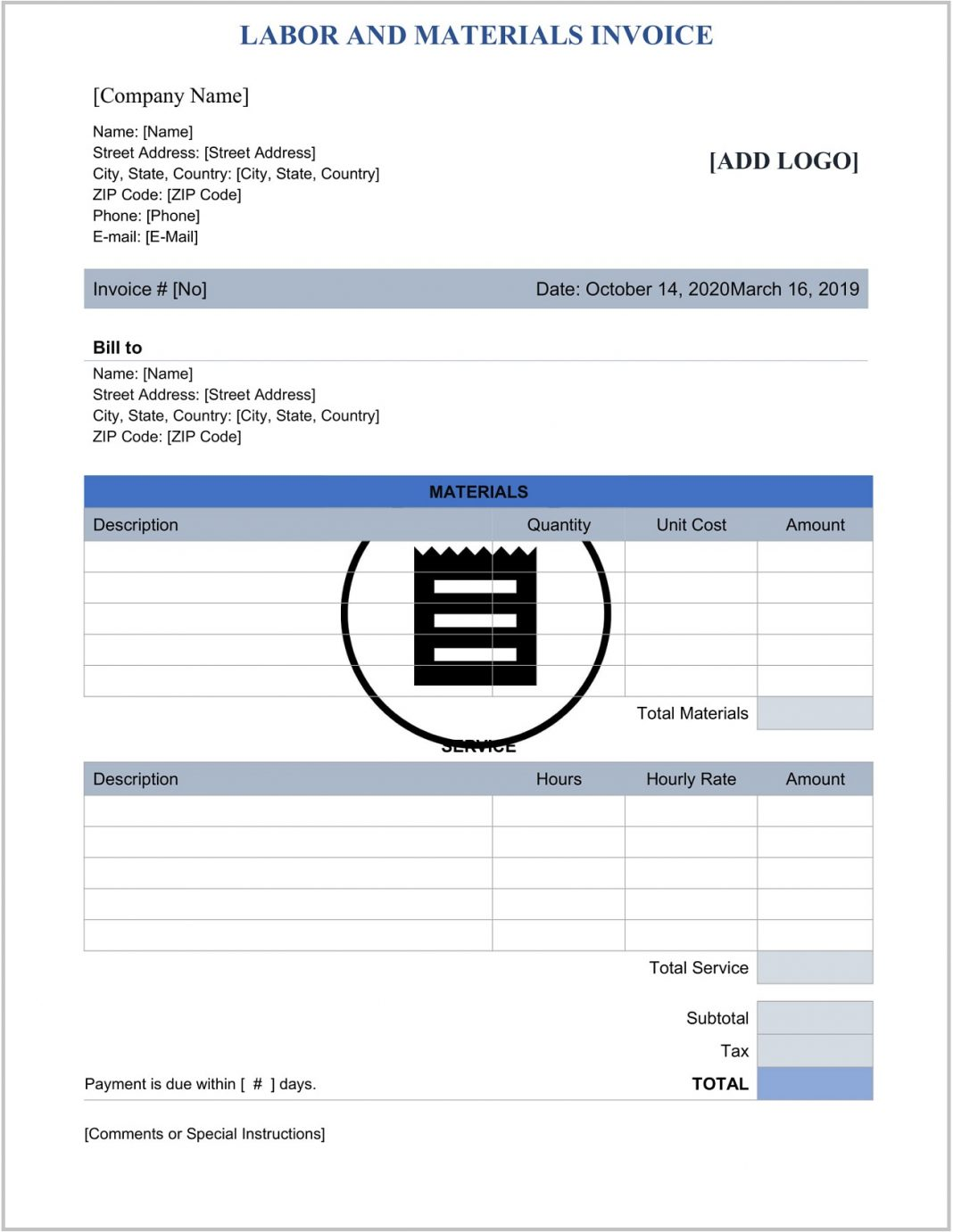 Labor Materials Invoice Template Word Format Free Printable Construction Labour Only Sample Contractor Bill In Excel  And Example Large