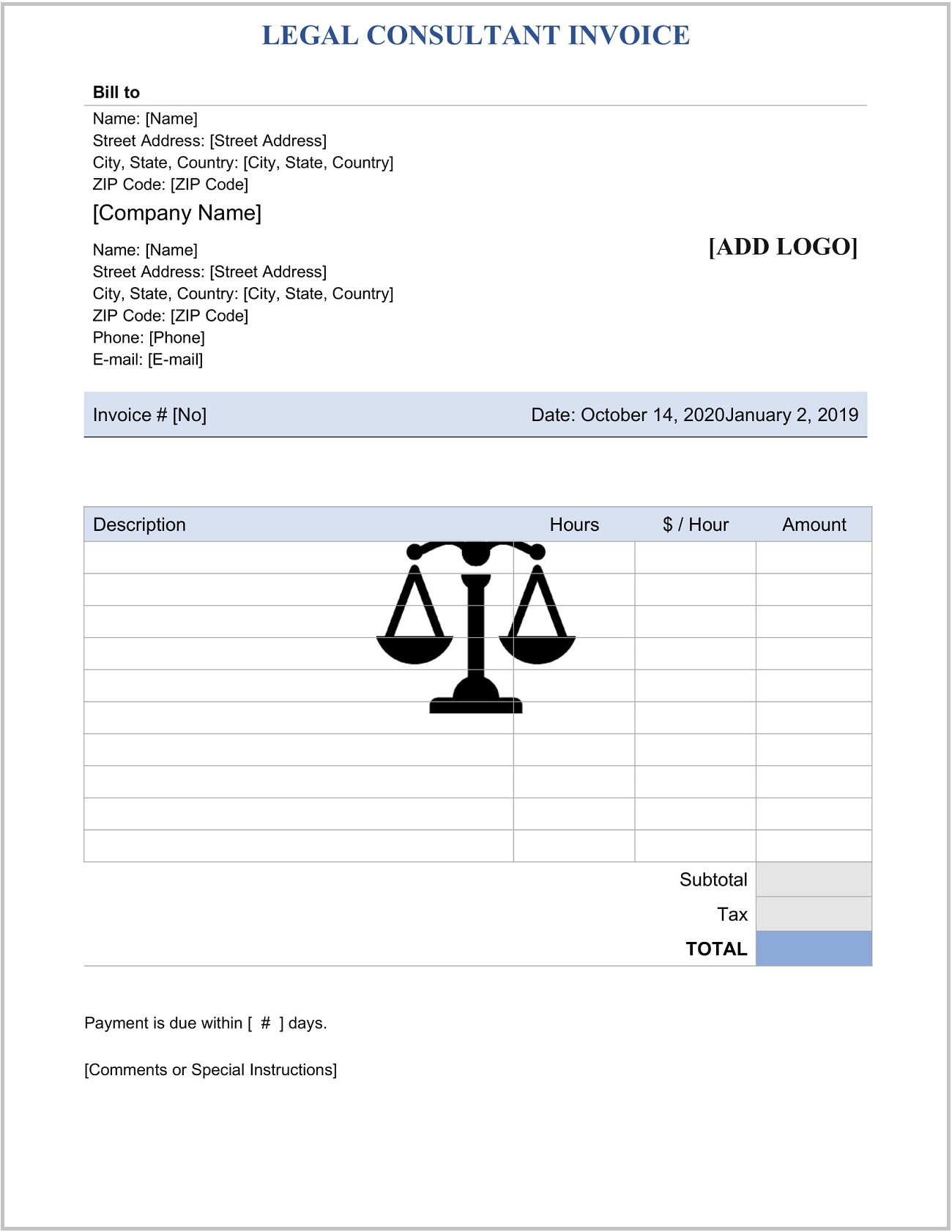 Legal Consultant Service Invoice Word Template